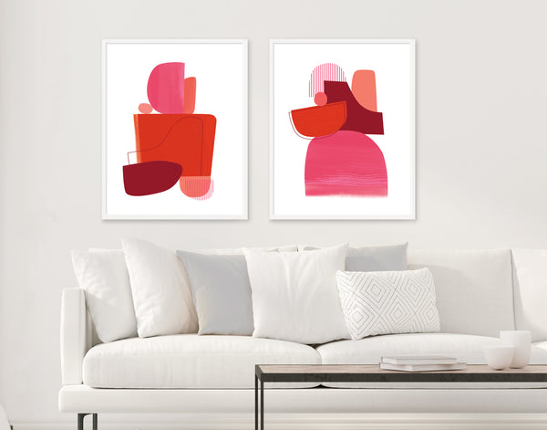 red art set above couch