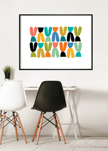 colorful mid century art print