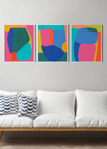 colorful abstract print set of 3