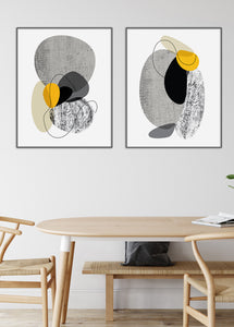 black and white mid century print set