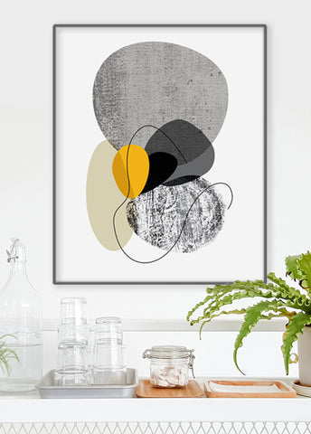 black and white mid century art print
