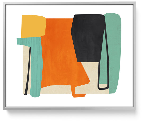 colorful wall art, framed mid century modern art