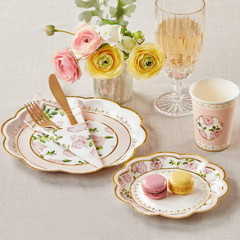Tea Time Whimsy 72 Piece Party Tableware Set - Pink (16 Guests)