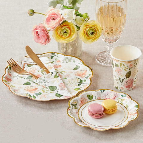 Floral Brunch 72 Piece Party Tableware Set (16 Guests)