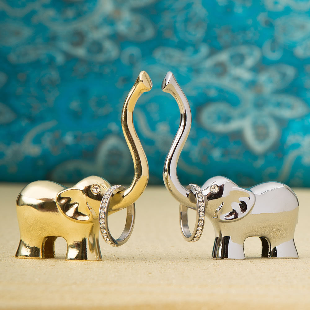 Lucky Elephant Ring Holder In Silver & Gold