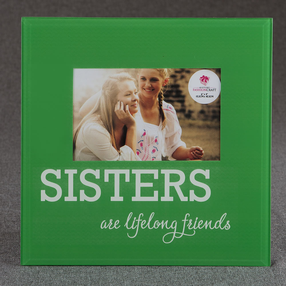 Glass Sisters Picture Frame - 6 x 4 - Green & White