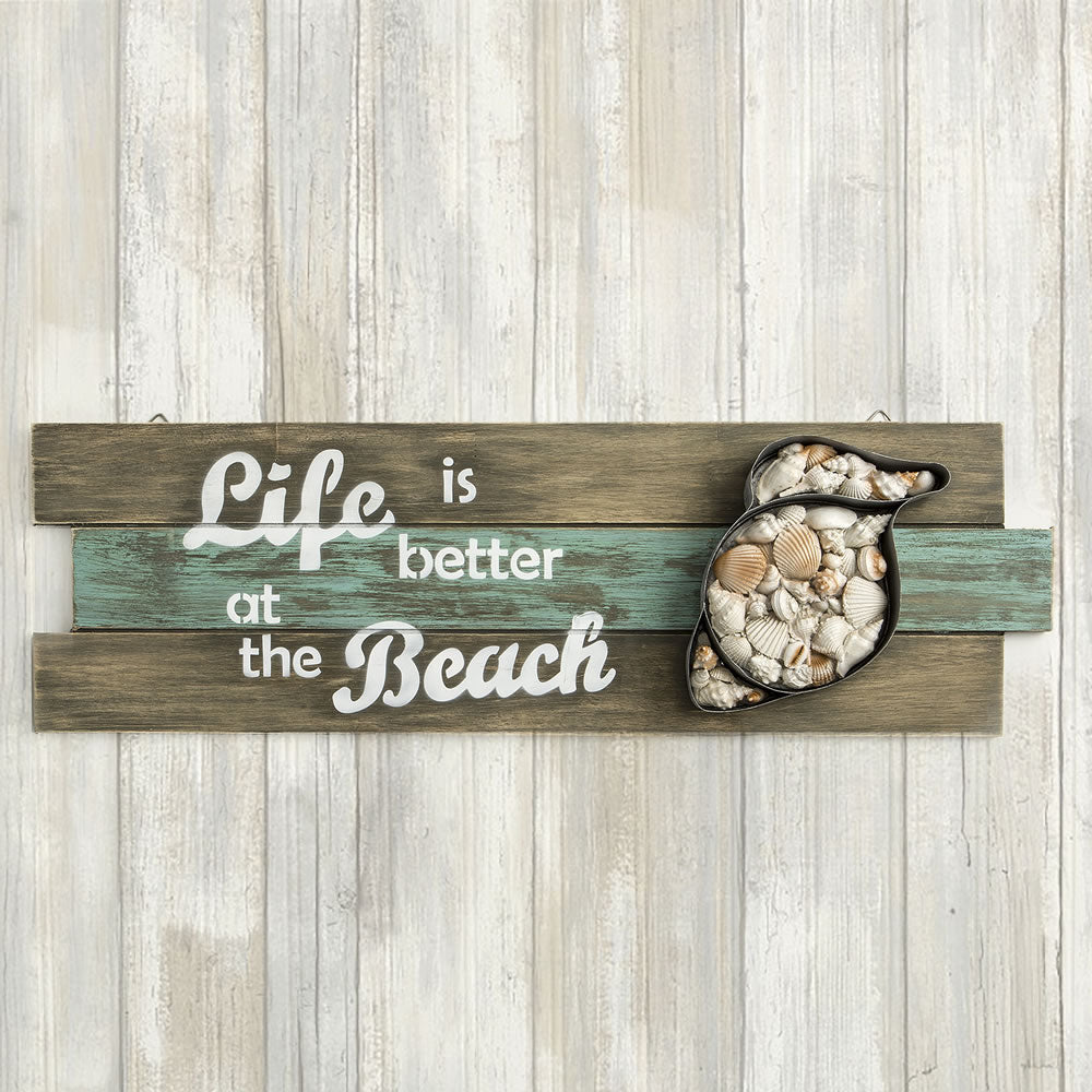 'Life Is Better At The Beach' Shell Wall Sign