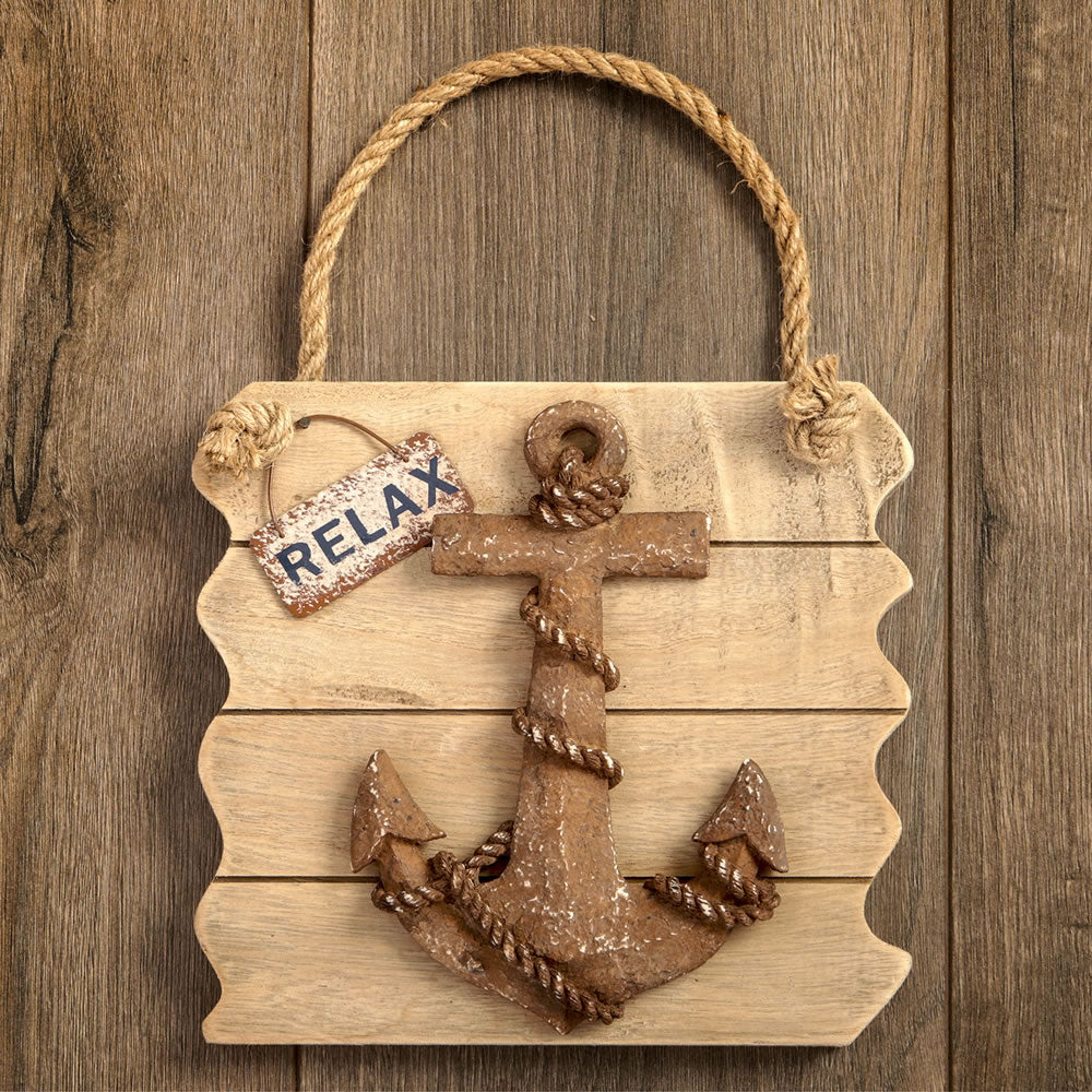 'Relax' Distressed Wood Edge Anchor Wall Plaque