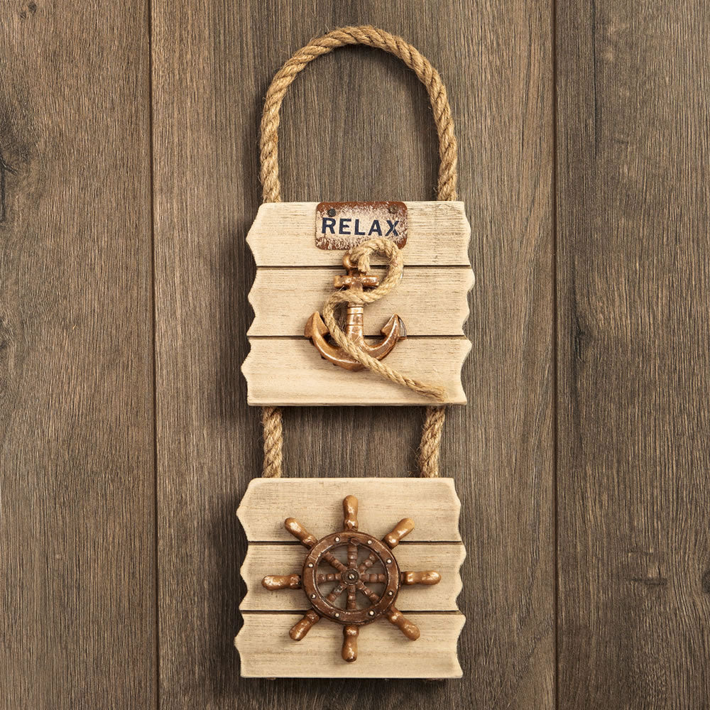 Double Wall Plaque - Anchor & Ships Wheel - Distressed Wood Edge