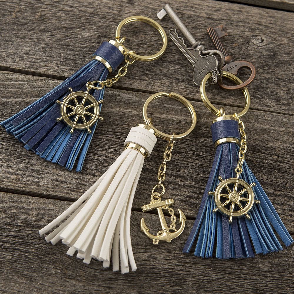 Anchor or Ships Wheel Tassel Key Chains