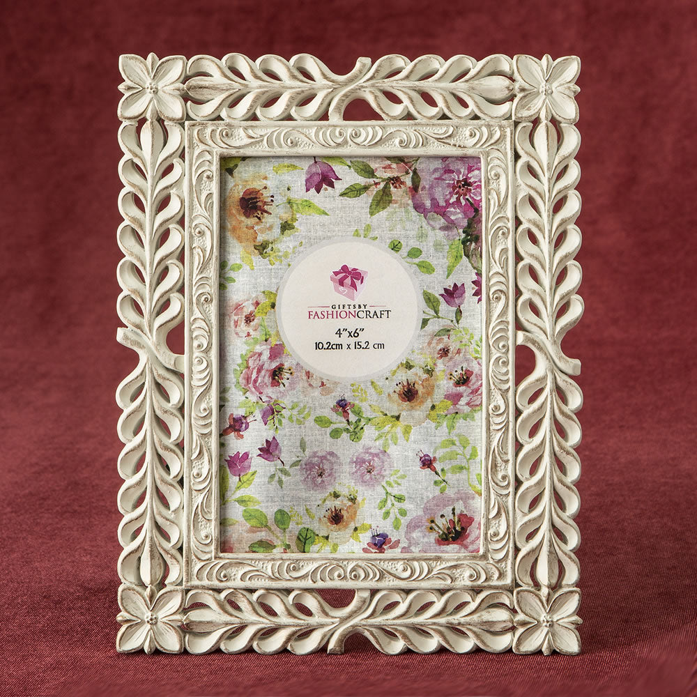 Elegant Ivory With Rose Gold Rub Lattice 4 x 6 Frame