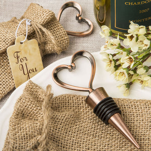 Heart Shaped Copper Plated Bottle Stopper In Burlap Bag