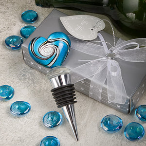 Stunning Murano Heart Design Wine Bottle Stopper