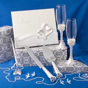 Interlocking Heart Themed Wedding Day Accessory Set