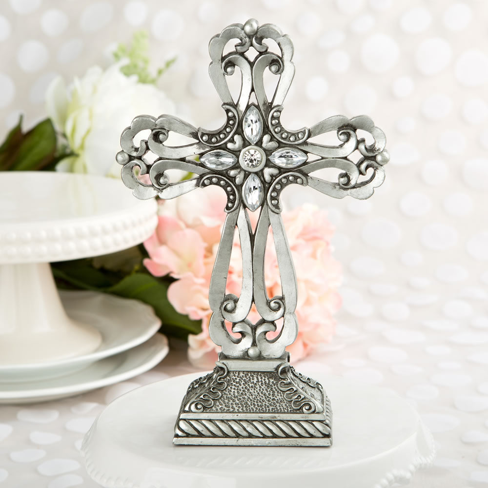 Pewter Cross Statue With Antique Accents