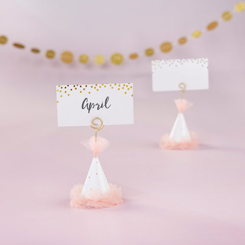 Pink Party Hat Place Card Holder (Set of 6)