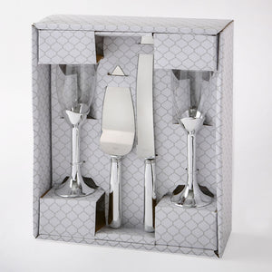 Plain Elegance Silver Four Piece Glass & Server Set
