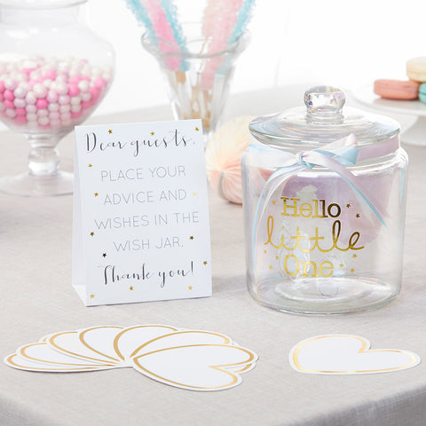 Iridescent Baby Shower Wish Jar with Heart Shaped Cards