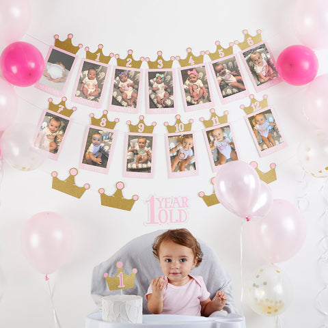 1st Birthday Milestone Photo Banner & Cake Topper - Princess Party