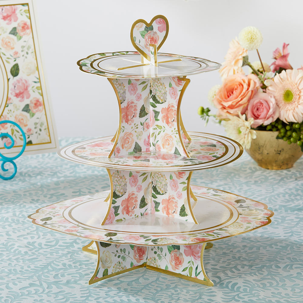 Floral 3-Tier Collapsile cardstock Cupcake Stand
