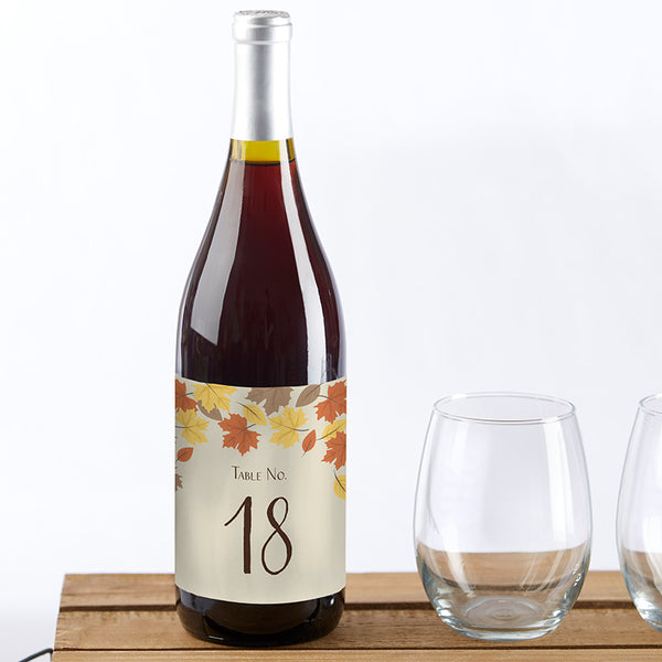 Fall Leaves Wine Label Table Numbers (1-20)
