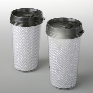 Double Wall Insulated Coffee Cup With Silver Chevron Design From Favorrific
