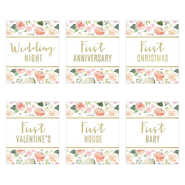 Marriage Milestones Wine Bottle Label - Floral (Set of 6)