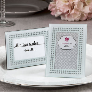 White Frosted Glass Picture Frame / Placecard Holder