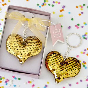 Gold Sequin Heart Key Chain