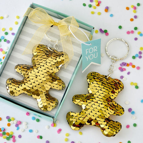 Gold Sequin Teddy Bear Key Chain