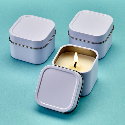White Scented Travel Candle Tin