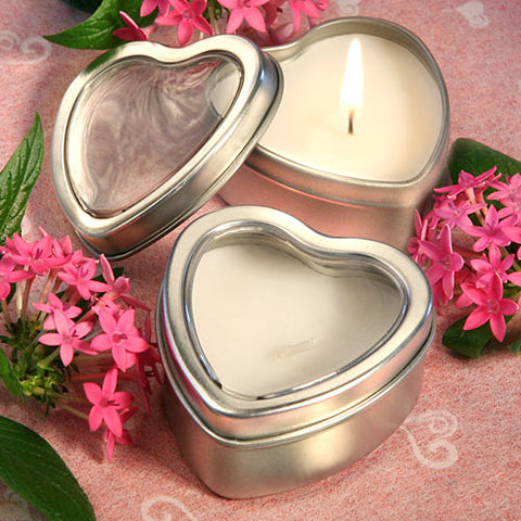 Light For Love Heart Candle Favor Tin