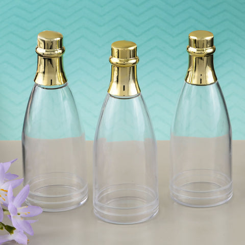 Clear Champagne Bottle Acrylic Container With Gold Foil Top