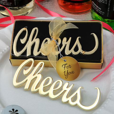 Metal Cheers Bottle Opener With A Gold Finish