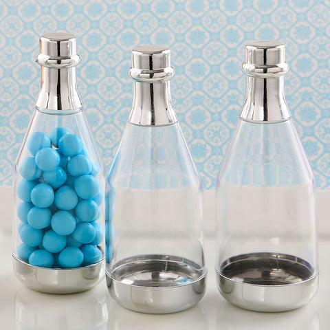 Silver Accented Clear Champagne Bottle Container