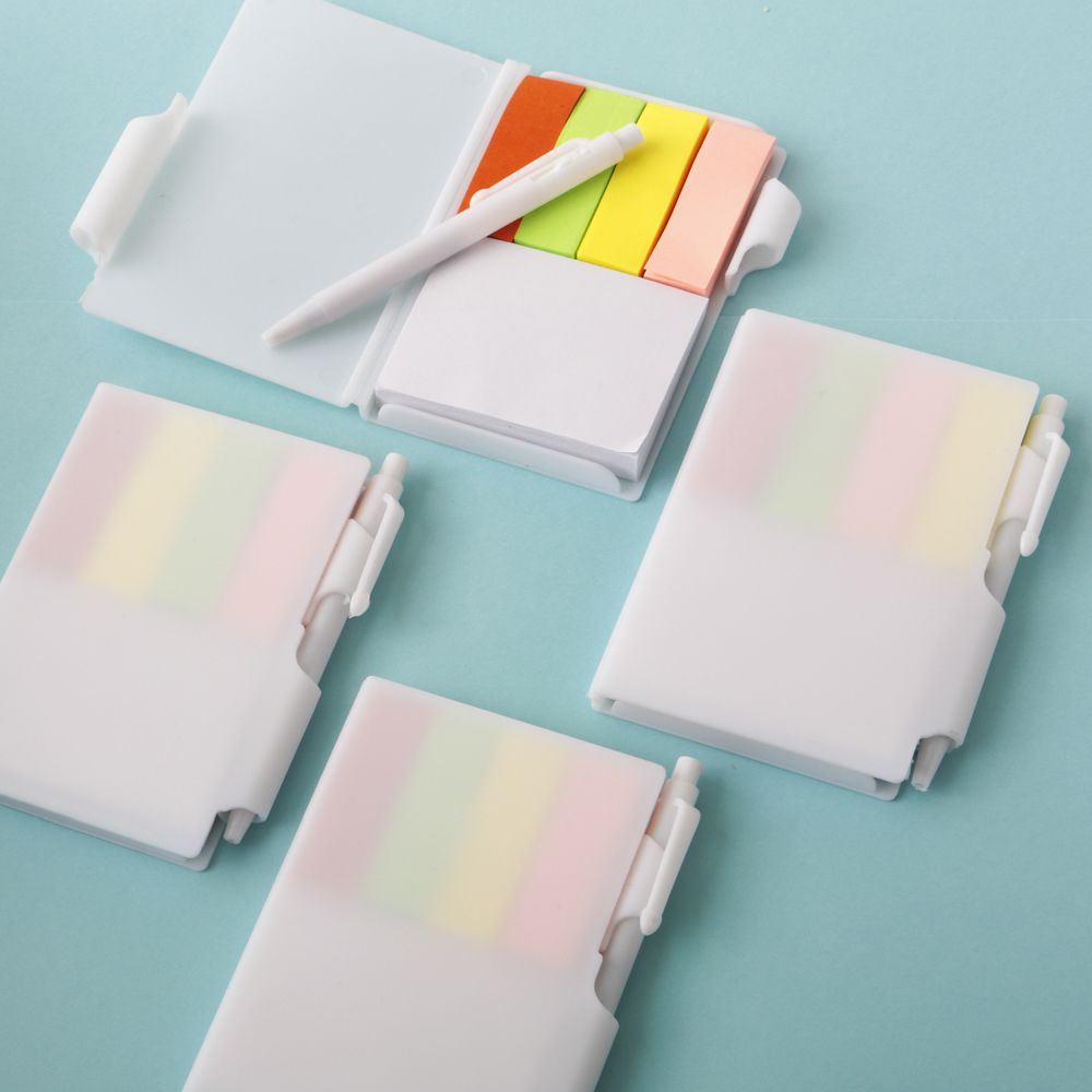 Perfectly Plain Collection White Note Book With Pen & Color Coded Sticky Tabs
