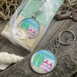 Beach Themed Flip Flop Design Key Chain With A Clear Glass Dome