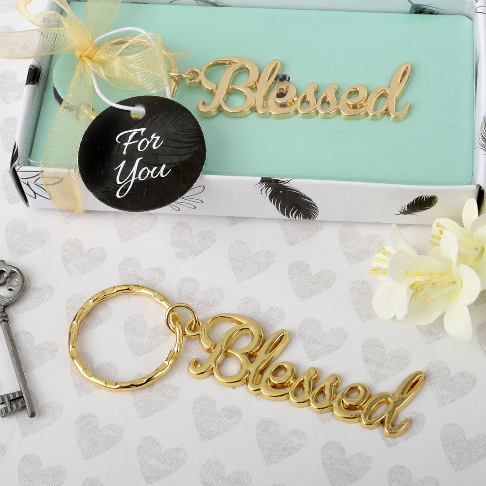 Blessed Theme Gold Metal Key Chain From Favorrific