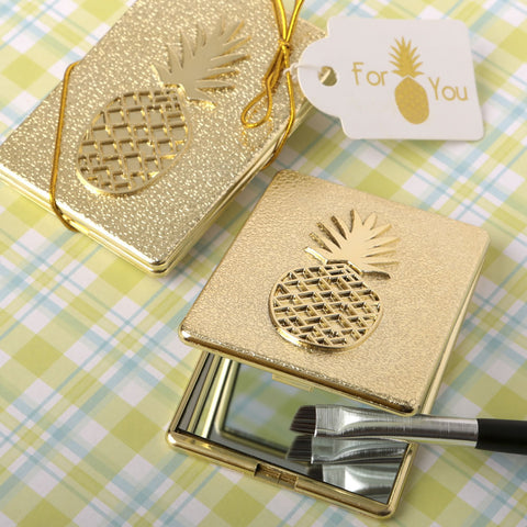 Pineapple Themed Gold Compact Mirror