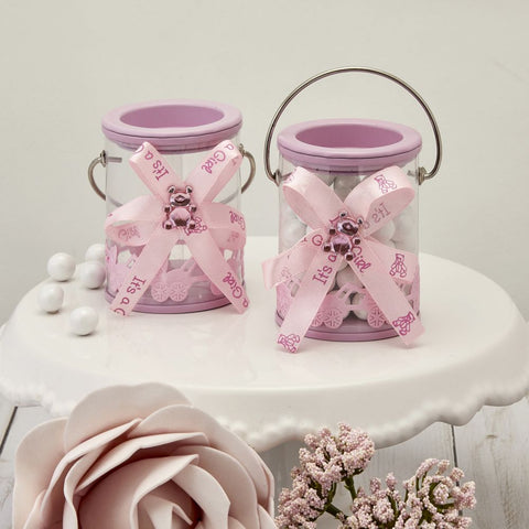 Baby Girl Pink Decorated Paint Can