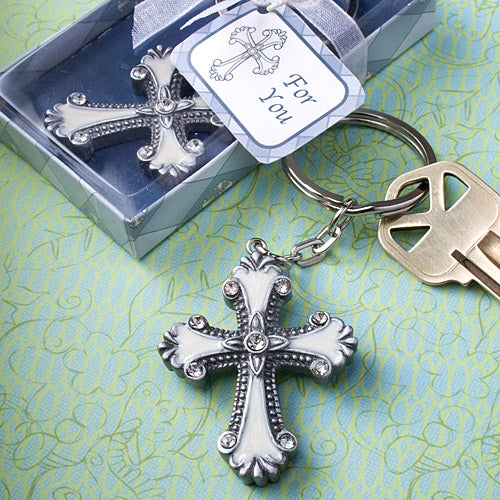 Silver Cross Design Keychain