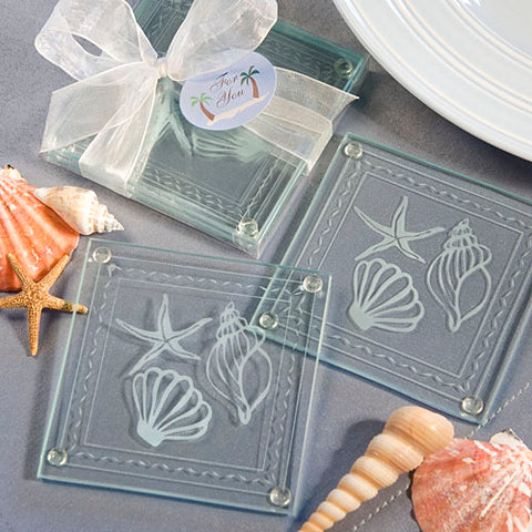 Seashell Beach Themed Glass Coasters