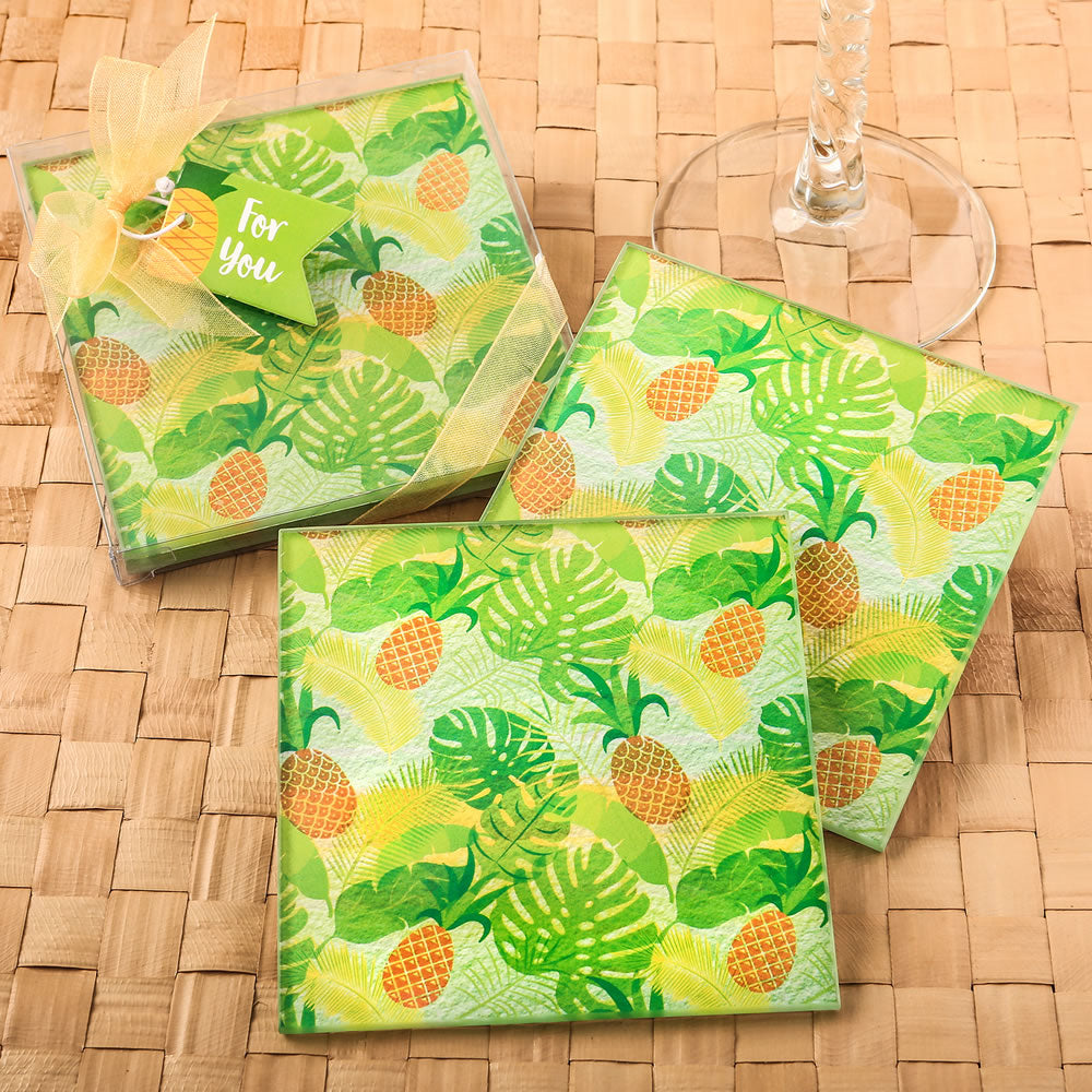 Tropical Pineapple Glass Coasters - Set Of Two
