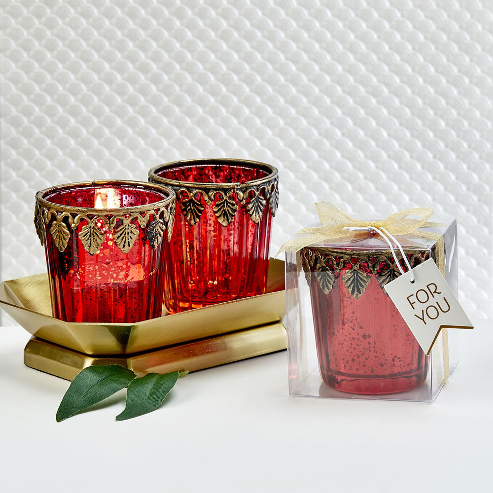 Red Mercury Glass East Asian Themed Candle