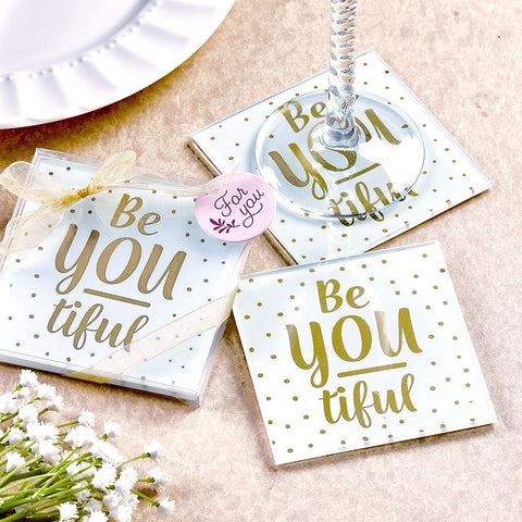 BE-YOU-TIFUL Set Of Two Glass Coasters