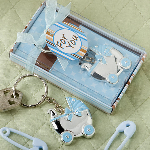 Blue Baby Carriage Design Key Chain