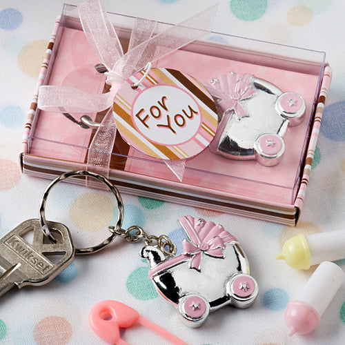 Pink Baby Carriage Design Key Chain