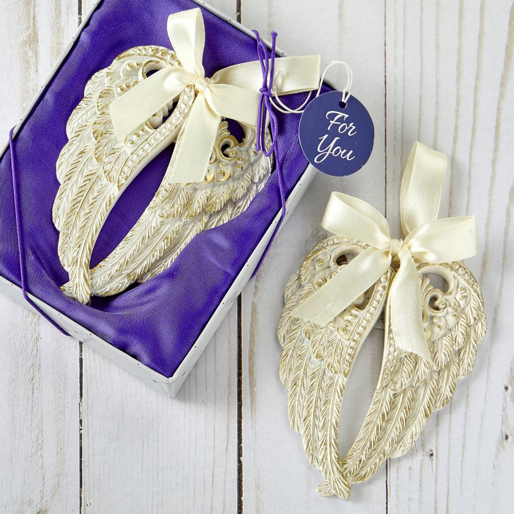 Ivory & Gold Angel Wings Ornament