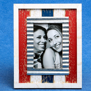 Distressed Wood Red White Blue With Metal Inner Border 4 x 6 Frame