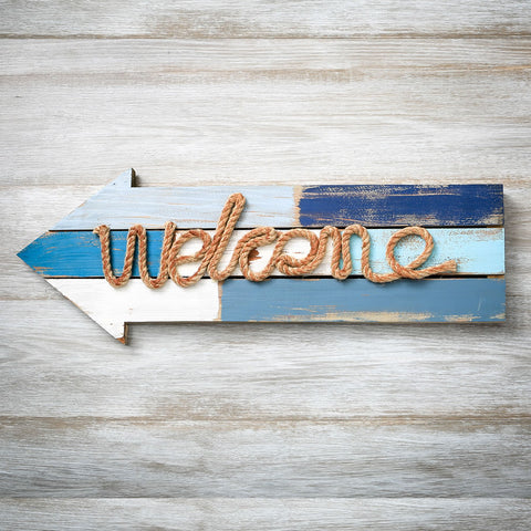 Welcome Arrow Wood Plaque With Rope